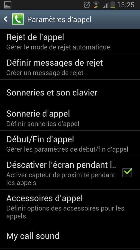 rejet appel Android menu