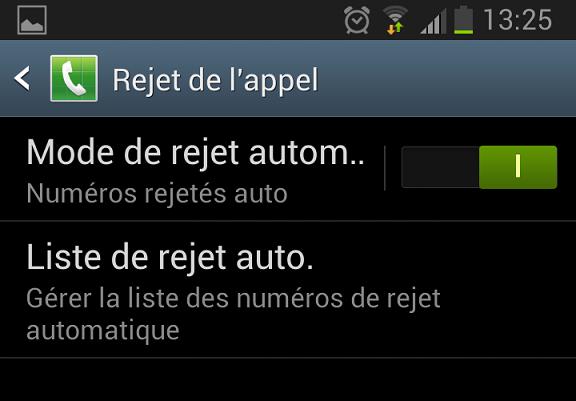 Liste automatique des rejets Android